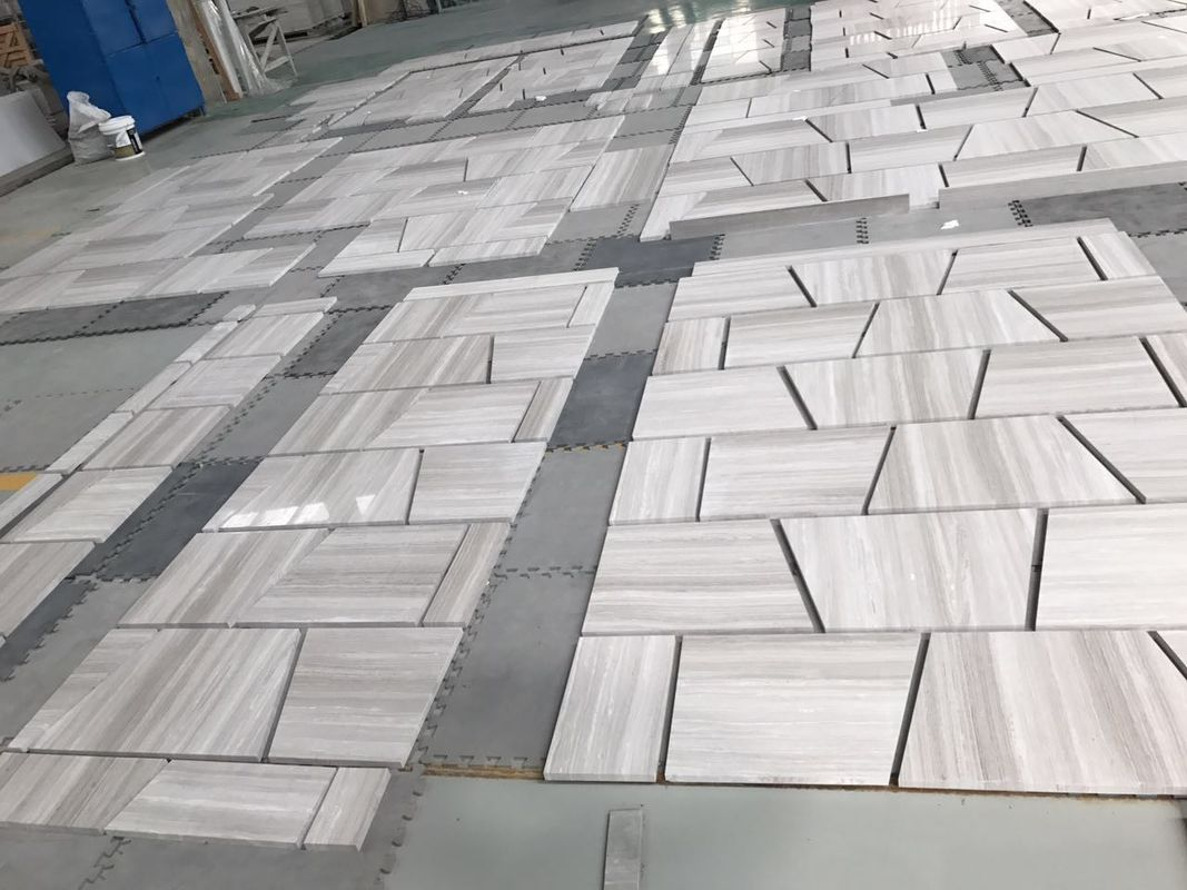 White grey wooden grain natural marble tile and slab