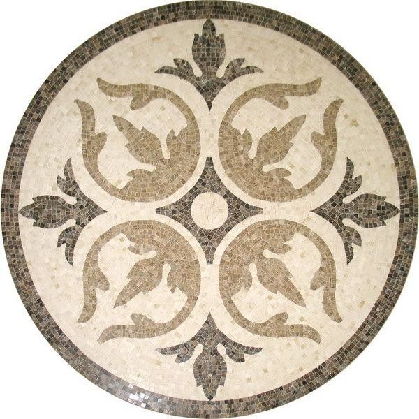 Solid Surface Marble Medallion Floor Tile , Decorative Custom Floor Medallions