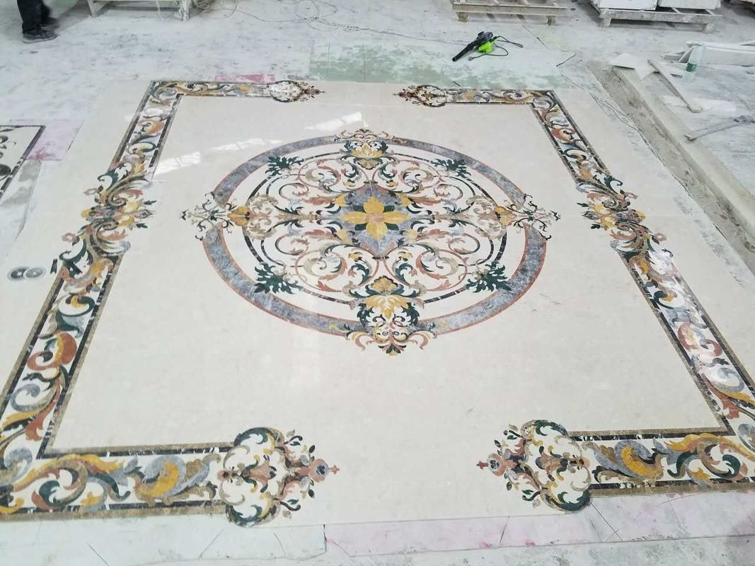 Polished Marble Decorative Tile Medallions , Lobby Hall Stone Tile Medallions