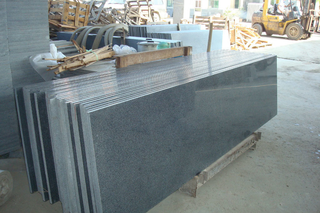 Natural Granite Stair Treads And Risers , Black Gray Granite Slabs For Stairs