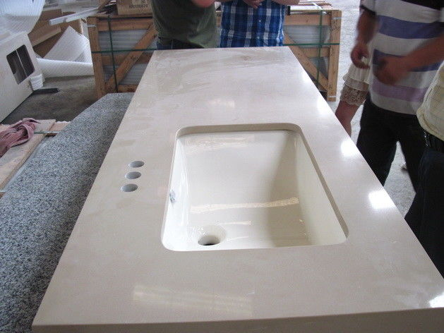 Commercial Bathroom vanity top remodelling Customized engineering Quartz Stone Countertops
