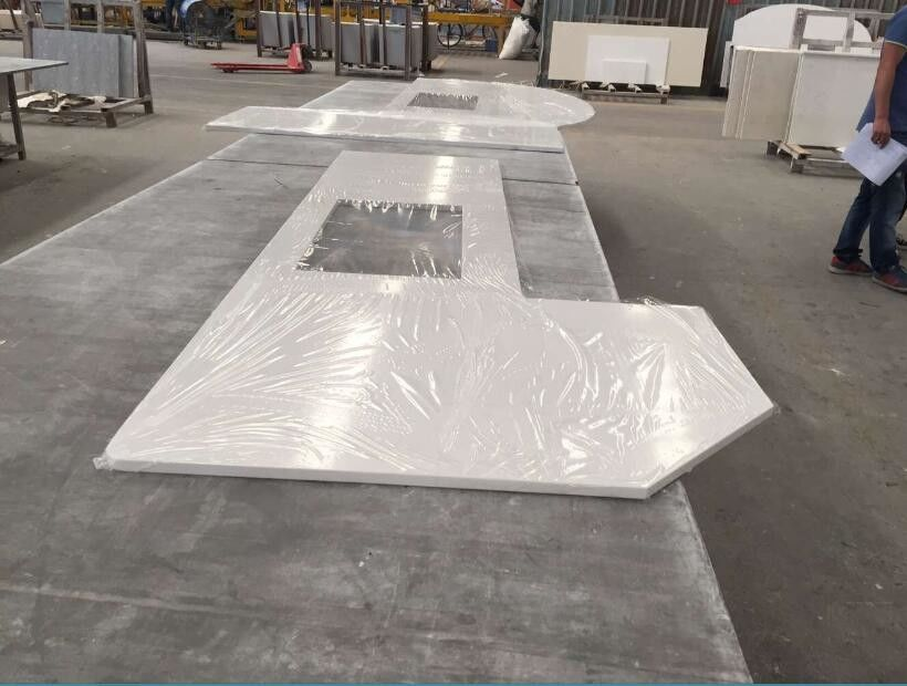 Prefabricated Solid Quartz Stone Countertops Beveled Processed Edge