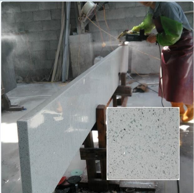 QS516 Artificial Solid Surface White Quartz Stone for Kitchen Countertops
