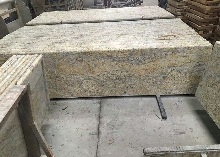 Golden Solid Granite Countertops , Kitchen / Bathroom Granite Countertop Slabs