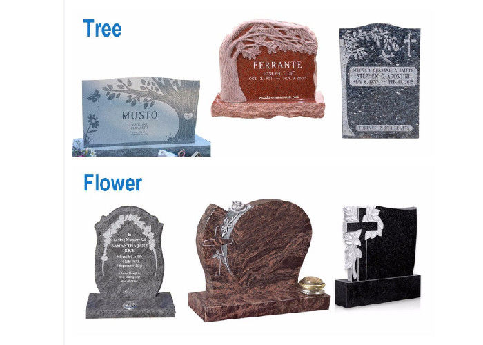 Various Shape Granite / Marble Headstones For Graves , Angel Headstones For Graves