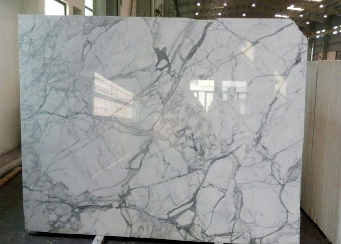 Natural Statuario Marble Tiles , Customized Size White Marble Floor Tile